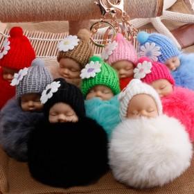 创意挂件可爱毛球睡眠娃娃包包挂件毛绒配饰品车钥匙扣