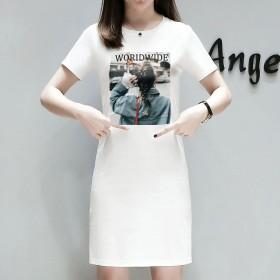 中长款女t恤裙短袖大码白色连衣裙圆领休闲显瘦印花