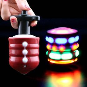 男孩仿木陀螺七彩发光音乐旋转陀螺儿童电动平衡玩具