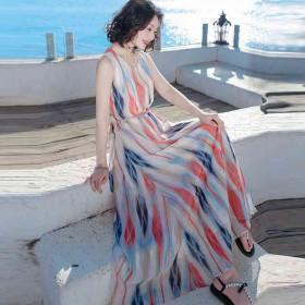 雪纺连衣裙夏季大码显瘦修身圆领气质沙滩裙海边度假
