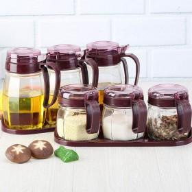 (限时抢购)玻璃调料盒厨房用收纳盒油壶调味瓶罐套装