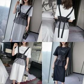 夏装新款短袖T恤连衣裙配亮片网纱吊带衫两件套韩版中