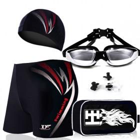 男士泳裤泳帽泳镜游泳平角内裤游泳衣游泳装备五件套