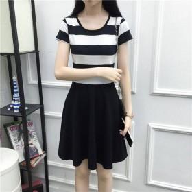 新款韩版条纹连衣裙女短袖T恤打底衫学生修身显瘦包臀