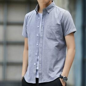 夏季短袖衬衫男士牛津纺薄款白色衬衫休闲衬衣修身半袖