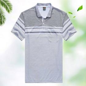 中老年爸爸T恤夏款短袖男士T恤休闲翻领宽松大码爸爸