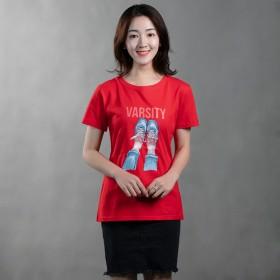 纯棉短袖T恤女简约修身打底衫卡通图案大码上衣