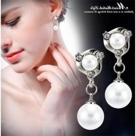 S925纯银针耳钉珍珠长款耳坠女显脸瘦耳环耳坠饰品