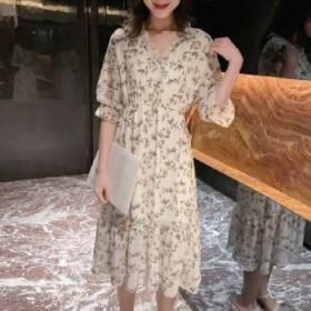 连衣裙2019新款夏季女韩版气质收腰显瘦碎花雪纺