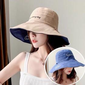 双面渔夫帽女夏季出游百搭大沿帽遮阳防晒帽子女送防风