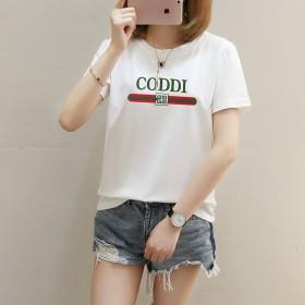 夏季新款女装韩版字母印花大码短袖t恤女式圆领打底
