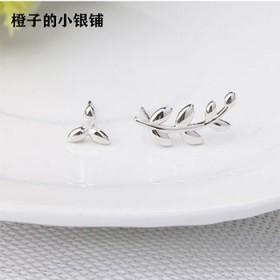 小清新S925纯银耳钉文艺森系橄榄树叶不对称个性耳