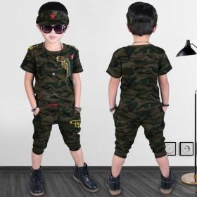 儿童短袖迷彩服俩件套T恤加短裤
