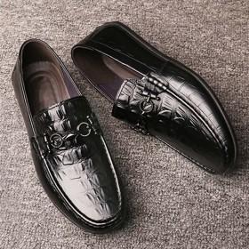 真皮頭層牛皮鱷魚紋豆豆鞋懶人一腳蹬軟底皮鞋