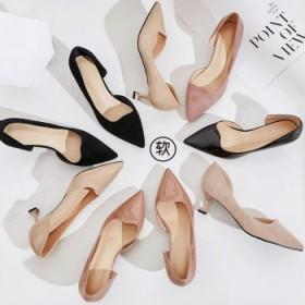 2019单鞋女5cm黑色高跟鞋工作鞋