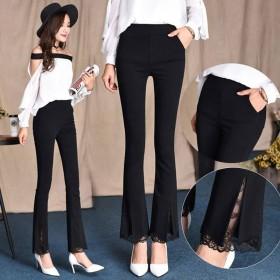 新款女裤喇叭裤蕾丝边裤子女韩版弹力显瘦女黑色九分长