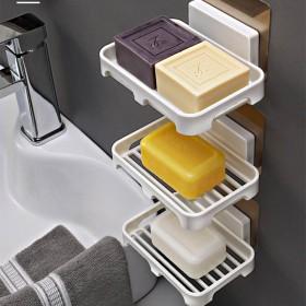 免打孔肥皂盒创意吸盘卫生间沥水香皂架壁挂式肥皂盒