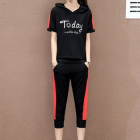 120-150斤女装显瘦黑色休闲纯棉料