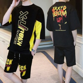 夏季运动套装男韩版学生宽松潮流嘻哈小伙套装
