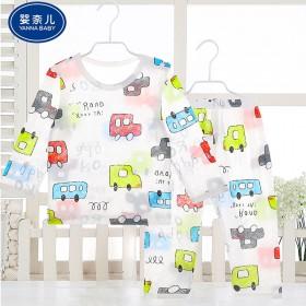婴奈儿竹纤维睡衣儿童空调服睡衣夏季薄款婴儿睡衣套装