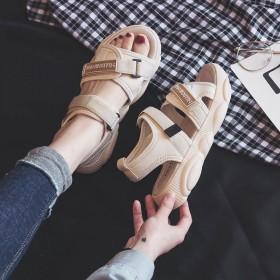 网红凉鞋女2019夏季新款松糕韩版魔术贴小熊底运动