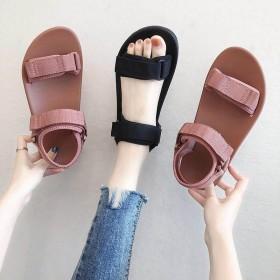 新款凉鞋女软底舒适仙女风百搭学生夏季韩版魔术贴平底