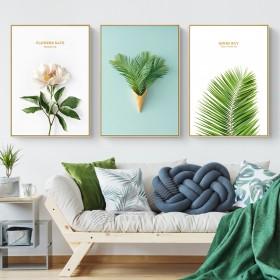 北欧风格装饰画 客厅卧室挂画小清新绿植床头画 现代