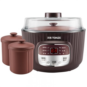 天际不锈钢紫砂炖锅1.8L隔水电炖盅