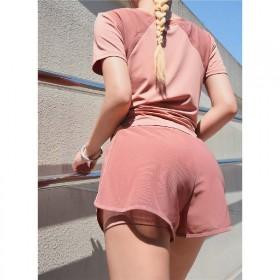 两件套夏季薄款T恤短裤网纱拼接宽松速干运动套装