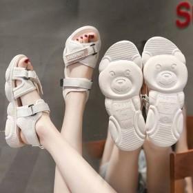 休闲厚底凉鞋女熊鞋子