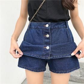 2019夏季新款韩版牛仔女短裙 防走光裤裙子a字裙