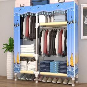 布衣柜简易衣柜非实木钢管加粗加固学生组合衣橱架布艺
