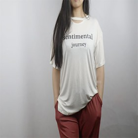 纯棉2019新款女T恤短袖夏季双圆领字母时尚宽松