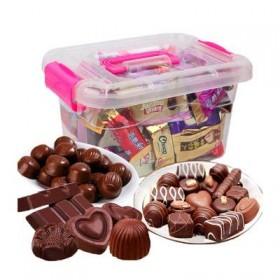 纯黑散装巧克力 儿童盒装牛奶夹心糖果网红代可可脂混
