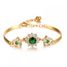 饰品特色镶钻AAA锆石手镯新娘配饰铜镀18k金手链
