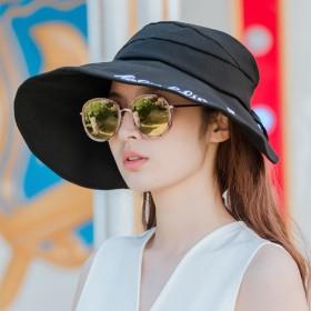 棉麻空顶帽夏季防晒太阳帽女刺绣字母大沿宽檐