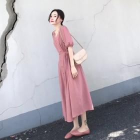 连衣裙2019新款夏收腰显瘦气质小香风V领长裙