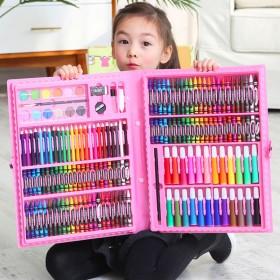 儿童水彩笔绘画套装送画本礼盒画笔蜡笔幼儿园礼物小