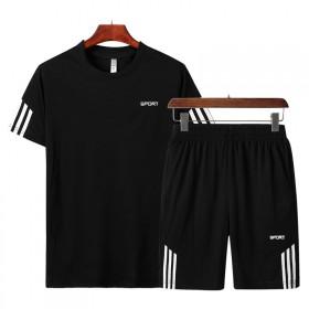 阿迪同款~男装夏天运动套装短裤两件套男士短袖t恤运