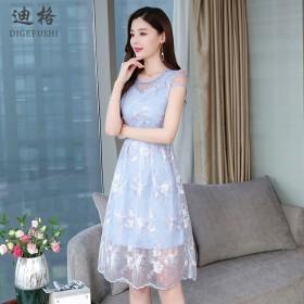 碎花连衣裙收腰显瘦气质法式A字裙网纱小众很仙的