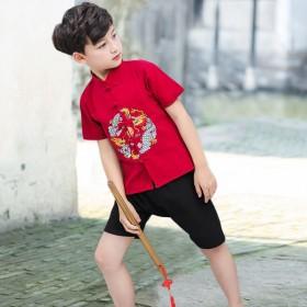 儿童唐装中国风套装薄款夏季汉服男童
