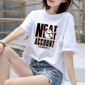 加肥加大码短袖t恤女新款夏装学生韩版宽松半袖体恤白