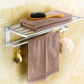 免打孔毛巾架浴室置物架太空铝卫生间置物架浴巾架挂钩