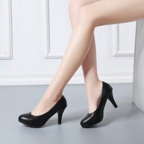 舒适正装黑色高跟鞋面试职业女鞋中跟空乘礼仪工作单鞋