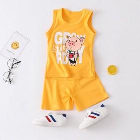 儿童纯棉背心套装夏季薄款装坎肩夏宝宝无袖两件套潮