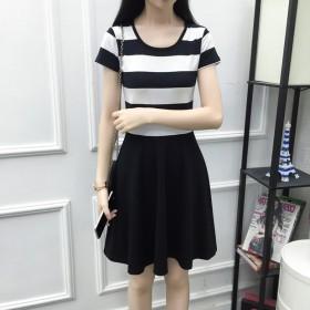 夏装新款连衣裙黑白条纹中长款短袖修身显瘦韩版女装连