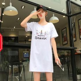 纯棉T恤中长款女短袖2019夏季新款ins宽松韩版