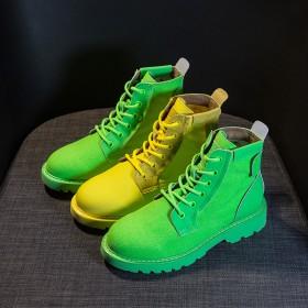2019秋新款马丁靴平底彩色黄色短靴荧光绿机车靴女