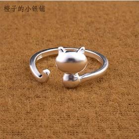可爱猫咪开口可调节甜美萌系少女亮面925银戒指