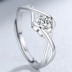 结婚对戒仿真钻石戒指女经典六爪情侣对戒一克拉多款